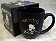 ALCHEMY GOTHIC BLACK MUG - DEATH BEFORE DECAF - HORROR, SKELETONS & SKULLS GIFTS