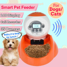 LCD Screen Automatic Pet Food Feeders Voice Recorder Food Bowl Water Dispenser