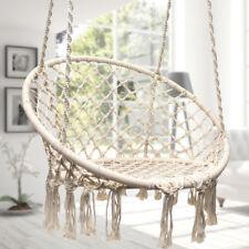 Beige Hanging Cotton Rope Macrame Hammock Chair Swing Outdoor Home Garden 265lbs