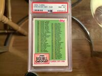 1984 Topps Baseball #527 Checklist 397-528 PSA 8 NM-MT!