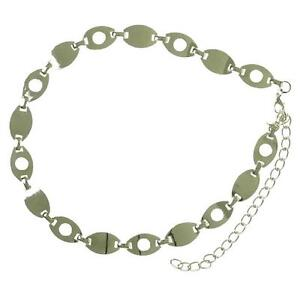 New NWT Style & Co. Chain Belt Link Adjustable Nickle Silver Retro Punk Rock SM