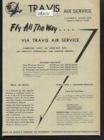 TRAVIS AIR SERVICE AIR TAXI BONANZA-APACHE-TWIN BEECH TO OAKLAND/SFO 1959 AD