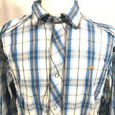 A Tiziano Mens Long Sleeve Pearl Snap Blue Plaid Western Shirt Size 2XL Bunny