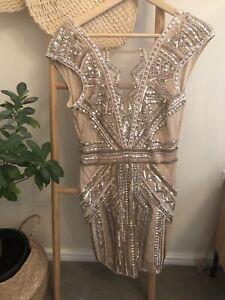 Miss Selfridge Petite Nude Backless sequin mini dress UK 12 EU 40 US 8