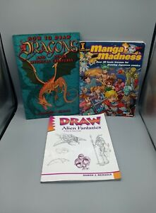 3 How To Draw Book Bundle Includes 1 Manga 1 Dragon 1 Aliens Instructional Book