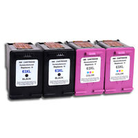 4Pk Black Color Ink Cartridges for HP 63XL Officejet 3830 3831 3832 3834 4650