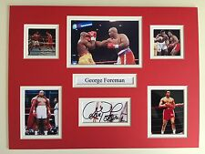 """Boxing George Foreman Signed 16"""" X 12"""" Double Mounted Display"""
