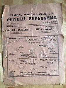 ARSENAL v DYNAMO FC - OFFICIAL PROGRAMME 21 NOVEMBER 1945