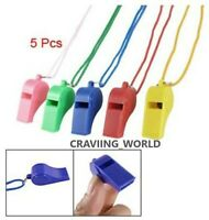 5 X PLASTIC COLOUR SPORTS WHISTLE FOOTBALL RUGBY REFEREE PLASTICNECK WRIST CORD