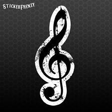 Grunge Treble Clef Die Cut Vinyl Decal - Music Musical Car Bumper Sticker