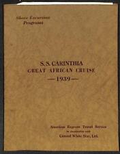 S.S. CARINTHA SHIP GREAT AFRICAN CRUISE 1939 PROGRAM CUNARD WHITE STAR LINE