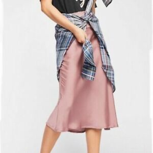 Free People Normani Bias Dawn Skirt Womens Midi Satin Pink Mauve Size 2