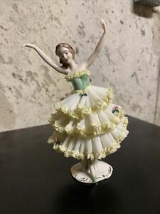 """Vintage Dresden Yellow Lace Dancing Ballerina 7"""" Green Dress Shoes-VERY NICE!"""