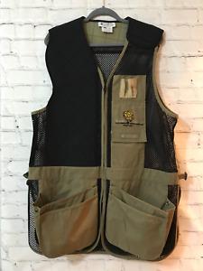Columbia Sportswear Mens Black Khaki Solid Sleeveless Hunting Vest Size Large