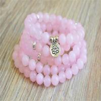 6mm Pink Crystal 108 Beads Lotus Pendant Bracelet energy Buddhism spirituality