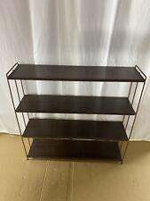 Vintage Frame Tier Mid Century Metal ( Wood Tone ) Bookshelf Industrial Modern