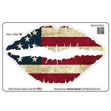 "AMERICAN FLAG LIPS(8 pack)HardHat Sticker(size: 2"" color:FULL)Full Color Printed"