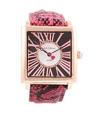 Ladies Gold Square Large Face Watch Pink Leather Strap Reloj de Pulsera Mujer
