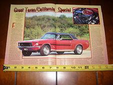 1968 FORD MUSTANG GT/CS CALIFORNIA SPECIAL - ORIGINAL 1998 ARTICLE