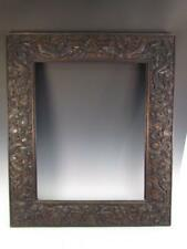 ANTIQUE HIGHLY CARVED CHINESE EXPORT PAINTING or MIRROR FRAME, DRAGON RELIEF