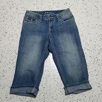 INC Women's Denim Capri Blue Jeans ~ Sz 4 ~ Flap Pockets ~ Bling ~ Cotton Blend