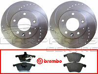 FOR Audi S3 2.0 QUATTRO TFSI 3.2 8P FRONT DRILLED 345mm BRAKE DISCS BREMBO PADS