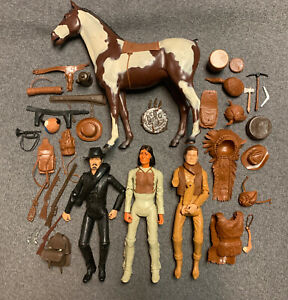 Vintage 1965/67 MARX Johnny West Sam Cobra Geronimo Lot w/Horse and Accessories
