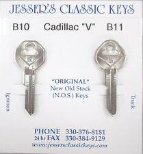 """Rare Cadillac  """"V""""  Original NOS B-10 Nickel Key Set 1936-1965"""