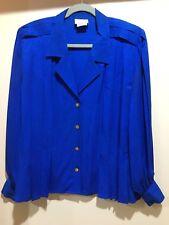Vintage Francesca of Damon For Starington~100% Silk Blue Blouse Shirt~Sz-12