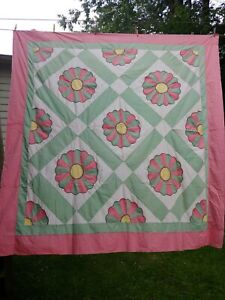 """Vintage Quilt Hand Stitched And Machine Sewn  Quilt; 76""""x76"""" Floral"""