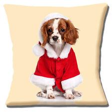 "KING CHARLES CAVALIER SPANIEL PUPPY SANTA HAT & COAT 16"" Pillow Cushion Cover"
