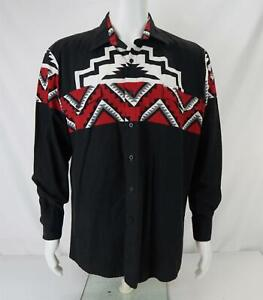VTG Roper Border Western Button Down Shirt Made in USA Black/Red Men's Large