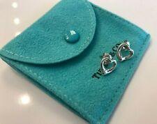 Tiffany & Co. Elsa Peretti Sterling Silver Open Heart Earrings W/ Pouch