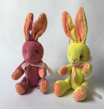 Vintage  Curduroy Rabbit Bunny Lot  with ribbon 15 cm removable parts  6''