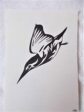 A4 Bolígrafo Marcador de arte dibujo pájaro Martín Pescador de animales un cartel Estilizado