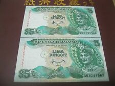 RM5 Ahmad Don sign 7th series - Pair running nos QR 3291966 - 67 (UNC)