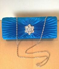 Ladies lovely blue ruched diamante party shoulder/clutch bag magnetic snap BNWT