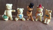 5 Danbury Mint Collectible Teddy Bears 1980's China Figurines Art by Pam Story