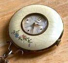 VTG Medana Enamel Flower Art Deco Hand-Wind Necklace Pendant Pocket Watch Hours