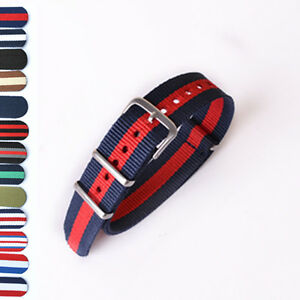 13 Colors 18/20/22mm Fabric Military Army Sport Nylon Canvas Striped Watch Strap