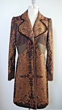 ETRO brown with colors paisley print long jacket coat Italian size 42