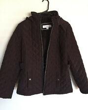d612d2e51e41d LIZ CLAIBORNE Size M Brown Quilted Zip Up Hooded (Removable) Jacket Coat