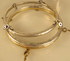 Lucky Brand Lock and Key Charm Two-Tone Hammered Bangle Bracelet  Set of 3 NEW