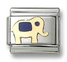 Authentic 18k Gold Italian Charm Blue Enamel Elephant 9mm Modular Link Bracelet
