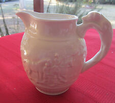 WEDGWOOD IVORY WHITE RAISED PITCHER HUNTING SCENE HOUND HANDLE SMALL NICE