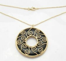 Technibond Genuine Caged Black Onyx Pendant 14K Yellow Gold Clad Silver Gemstone