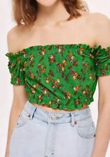 Topshop Top Sz 12 Green Ditsy Gypsy Floral Green Crop Cropped Off Shoulder New