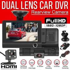 "Car DVR 4"" Dual Lens HD 1080P Rearview Video Dash Cam Recorder Camera G-sensor"