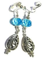 Silver Turquoise Clip On Earrings Glass Bead Antique Vintage Tibetan Style Boho