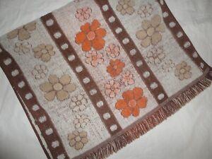 VINTAGE CANNON FLOWER POWER MID MOD ORANGE BROWN FLORAL (1PC) BATH TOWEL 23 X 35